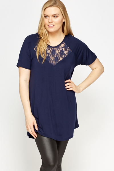 Lace Insert Dark Blue Top