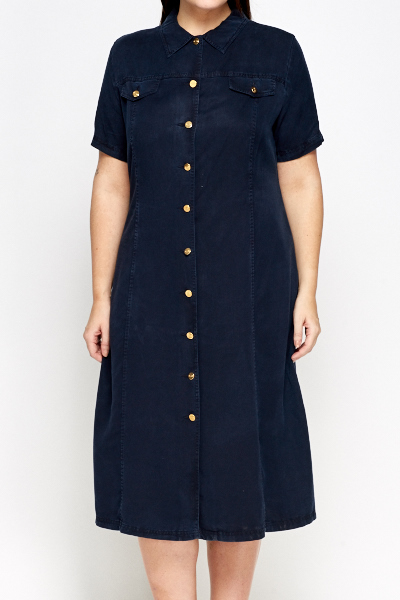 Middle Blue Maxi Shirt Dress