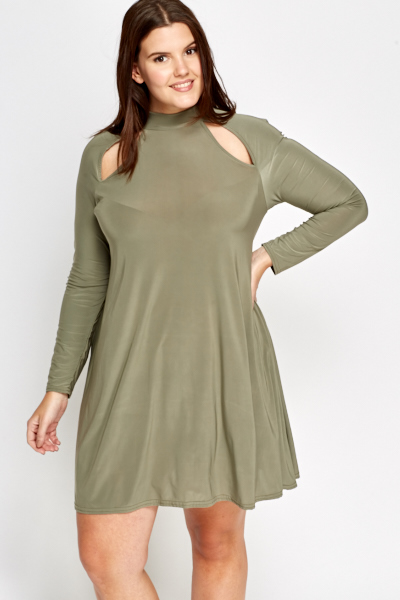 Olive Cut Out Swing Dress