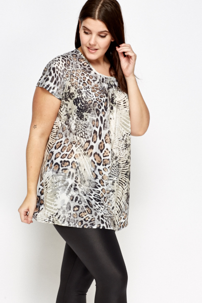 Pleated Mixed Animal Print Top