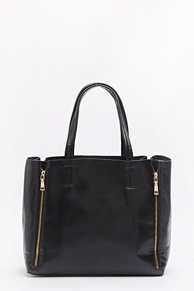 Black Zip Detail Shopper Bag - Just £5 289e274b6