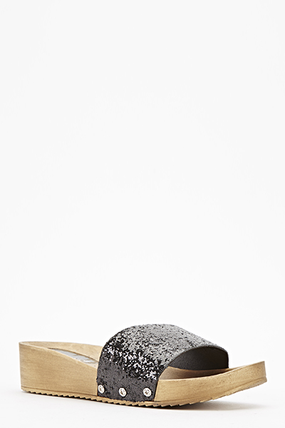 Glitter Mule Slip On Wedged Sandals