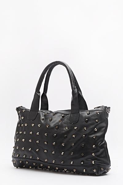 Large Black Studded Bag Just 6