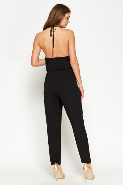Black Cut Out Side Jumpsuit