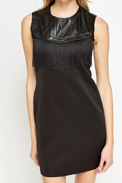 Faux Leather Tassel Front Bodycon Dress