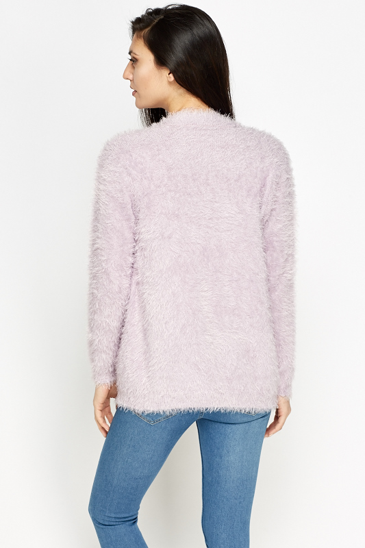 Fluffy Knit Open Cardigan