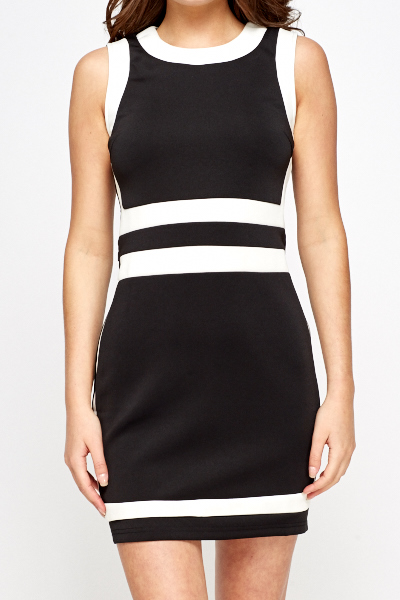 Mono Striped Bodycon Dress