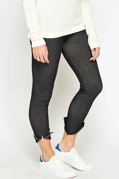 Zip Hem Black Leggings