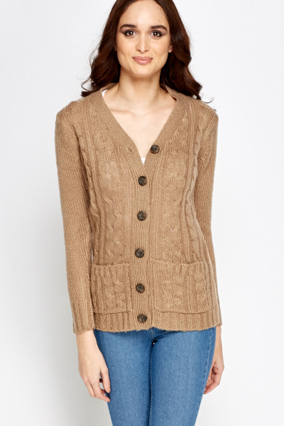 Cable Knit Large Button Cardigan