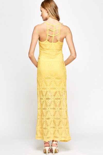Crochet Overlay Strappy Maxi Dress