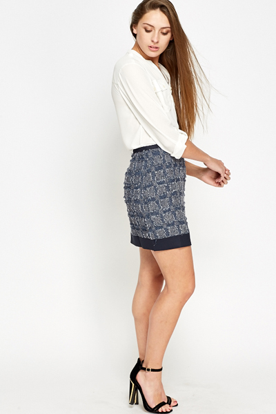 Distressed Blue Skirt