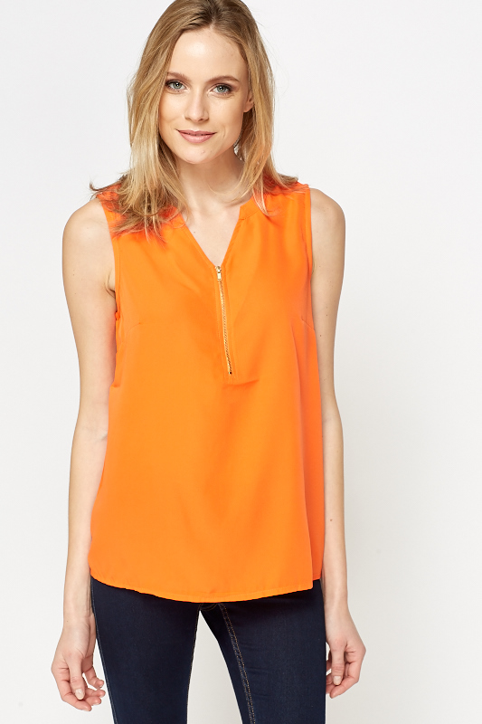 Neon Orange Sleeveless Top Just 163 5