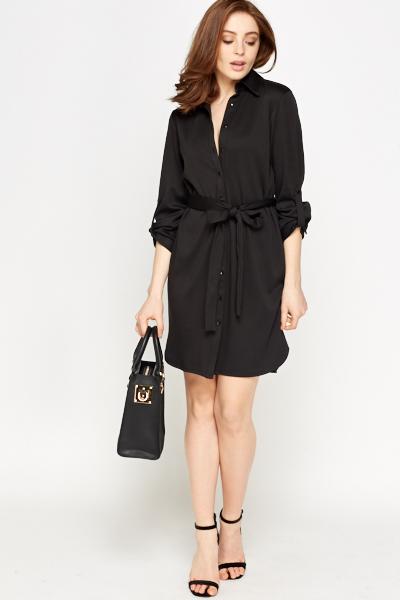 211a80a625a Black Belted Shirt Dress - Just £5