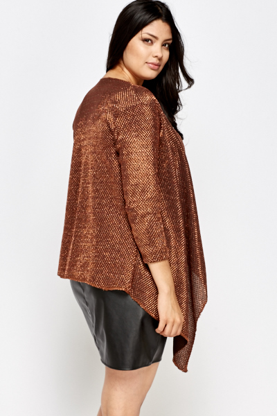 Brown Metallic Asymmetric Open Front Cardigan