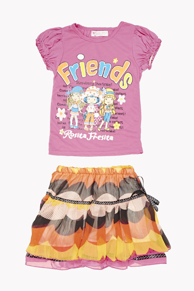 Friends Print T-Shirt And Skirt Set