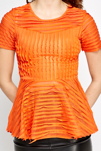 Orange Pleated Peplum Top