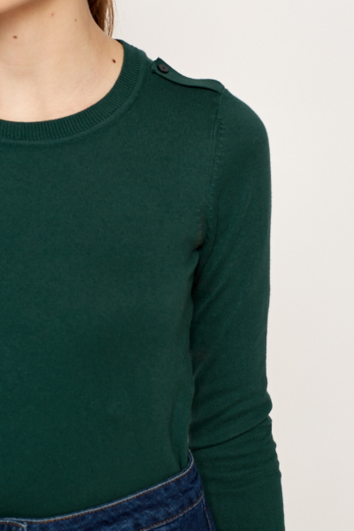Shoulder Button Tab Pullover