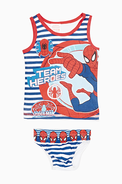 Striped Spiderman Vest And Pants Set