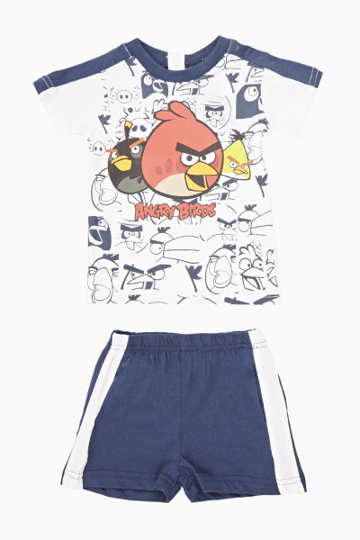 White Contrast Angry Birds Top And Shorts Set