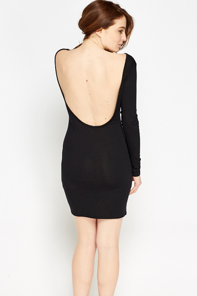 Geraldton black bodycon dress long sleeve low back