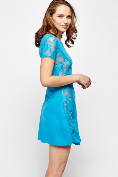 Lace Panel Side Swing Dress