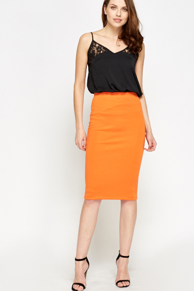 Orange Pencil Skirt