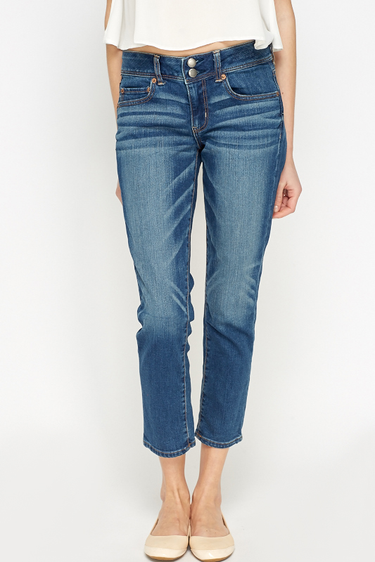 Stretch Cropped Denim Blue Jeans