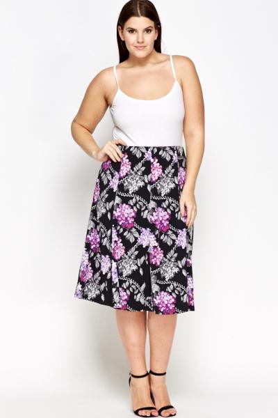 7b6eb1046e Black Floral Midi Skirt - Just £5