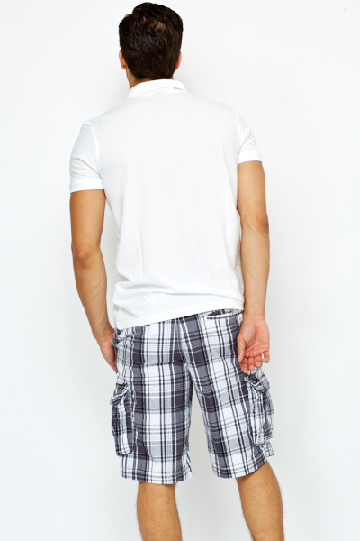 Checked Cotton Cargo Shorts