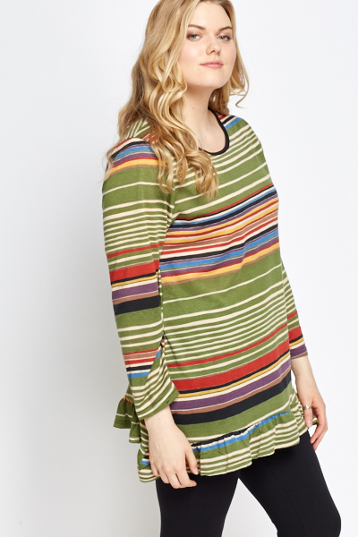 Frill Hem Green Striped Top
