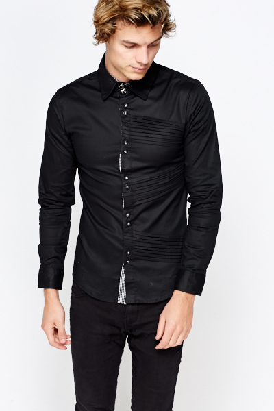 Pleated Side Slim Fit Shirt