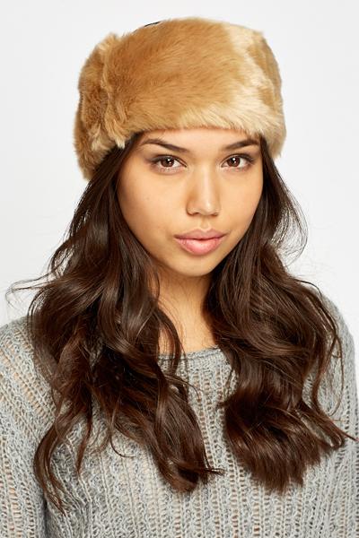 Faux Fur Beige Headband