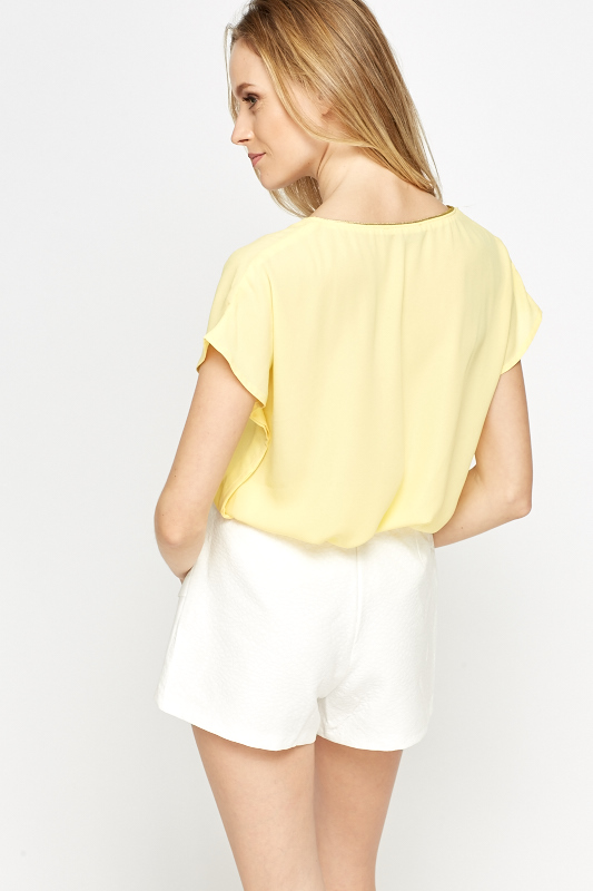 Yellow Contrast Trim Top