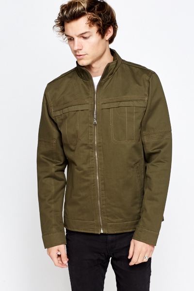 Cotton Blend Casual Bomber Jacket