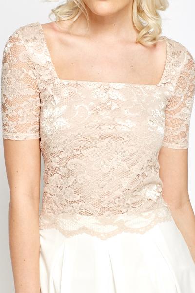 Beige lace crop top