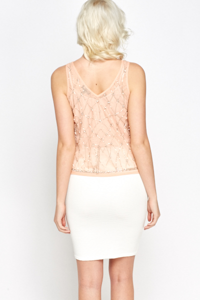Embroidered Peach Cami Top