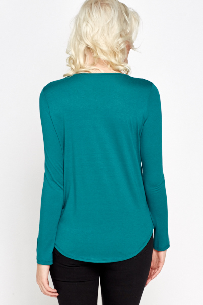 Green Open Front Wrap Top