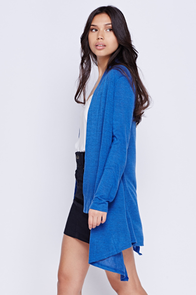 Asymmetric Basic Blue Cardigan