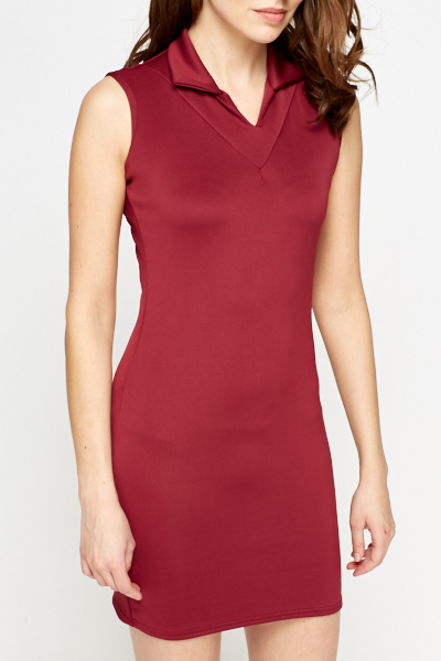 Collared Burgundy Mini Dress