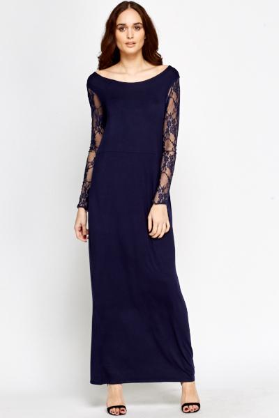 657decad329 Dark Blue Lace Contrast Maxi Dress - Just £5
