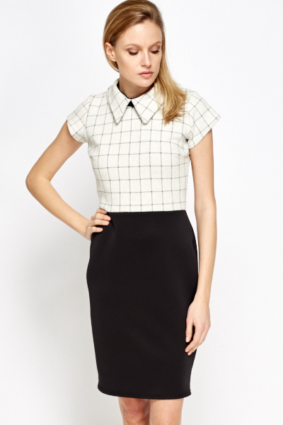 Collared Contrast Office Dress Just