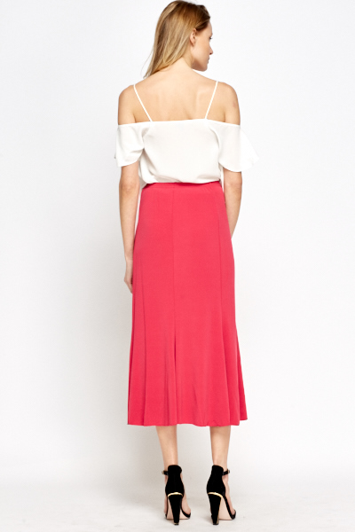 Hot Pink Swing Midi Skirt