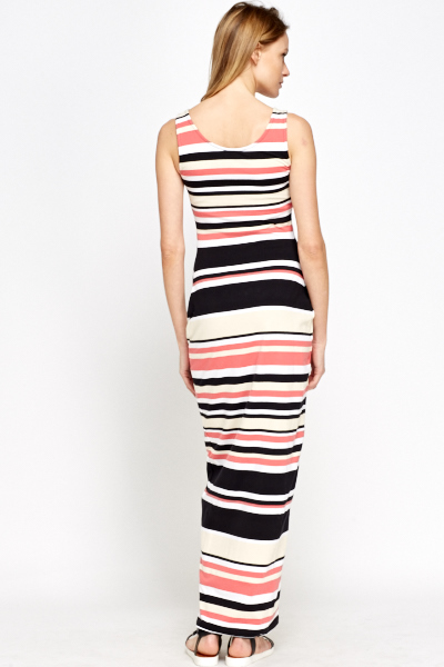 Maternity Striped Black Maxi Dress