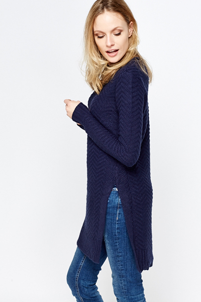 Textured Navy Long Knit Jumper