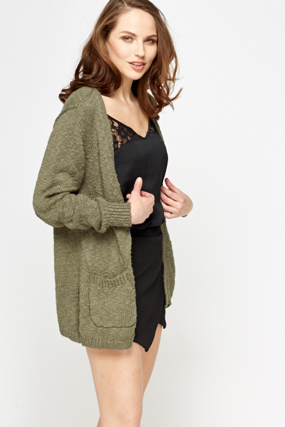 Cotton Pocket Side Cardigan