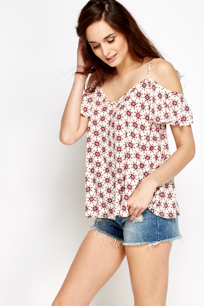 Cut Out Flare Sleeve Cami Flower Top