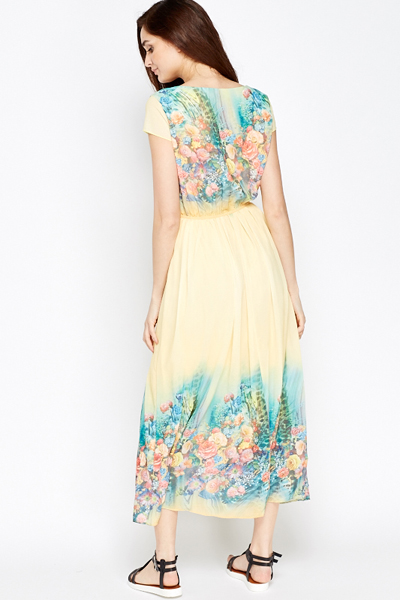 Floral Split Contrast Flare Dress
