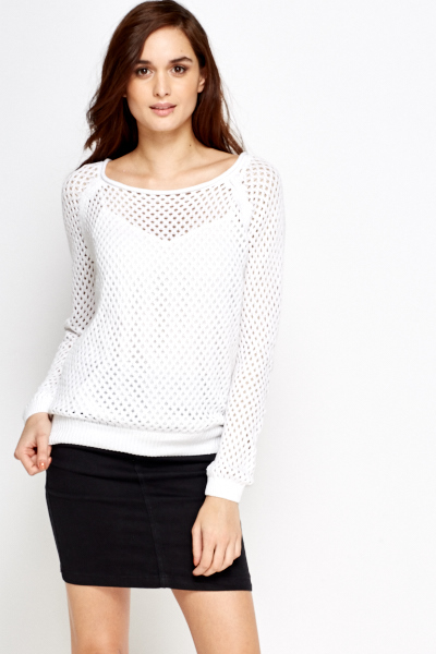 Loose Knit White Jumper