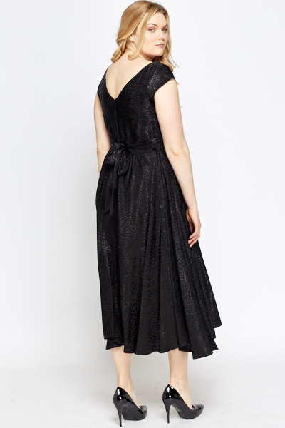 Textured Black Midi Dress