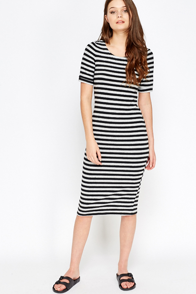 Jersey Black Striped Midi Dress